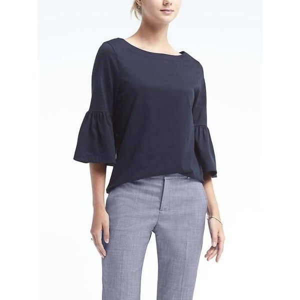Banana Republic Womens Bell Sleeve Couture Tee (£39) ❤ liked on Polyvore  featuring