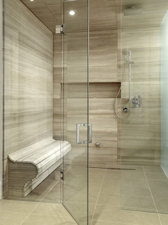 Spectacular High End Bathroom Tile Combined With Seat In The Glass Shower  Room : Charming High