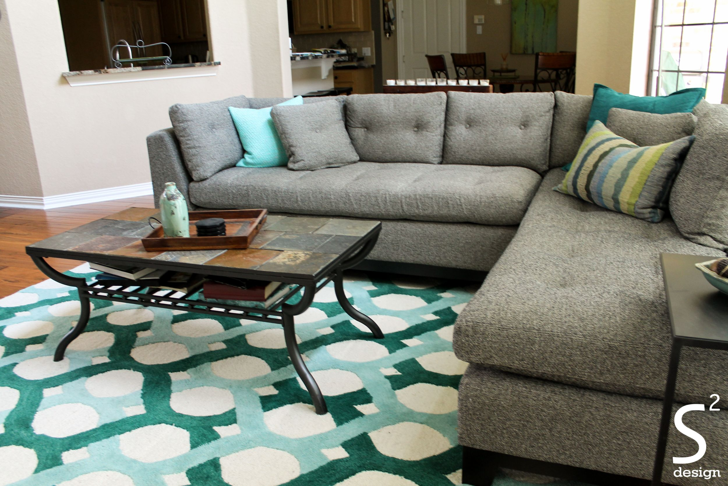 Mid Century Modern Living Room Grey Sectional Blue Teal Green Accents Rug Metal Side Table
