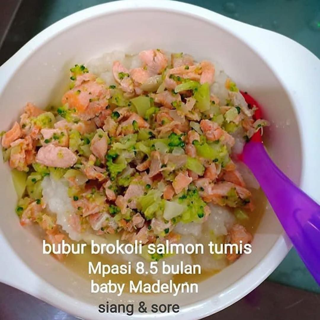 Menu Mpasi Made By Mommy Steffanyhui90 Mpasi Baby Madelynn 8 5mo Bubur Brokoli Salmon Tumis Baha Tumis Resep Salmon