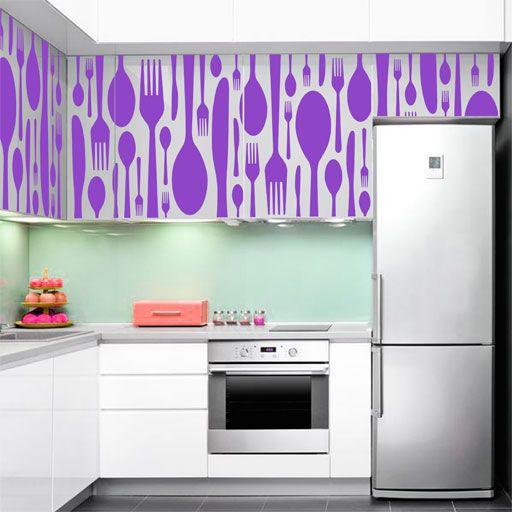 Vinilo decorativo de cubiertos para forrar los muebles de for Vinilos para muebles de cocina
