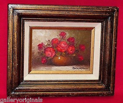 vintage mid century red rose roses vase oil painting signed franciose flowers