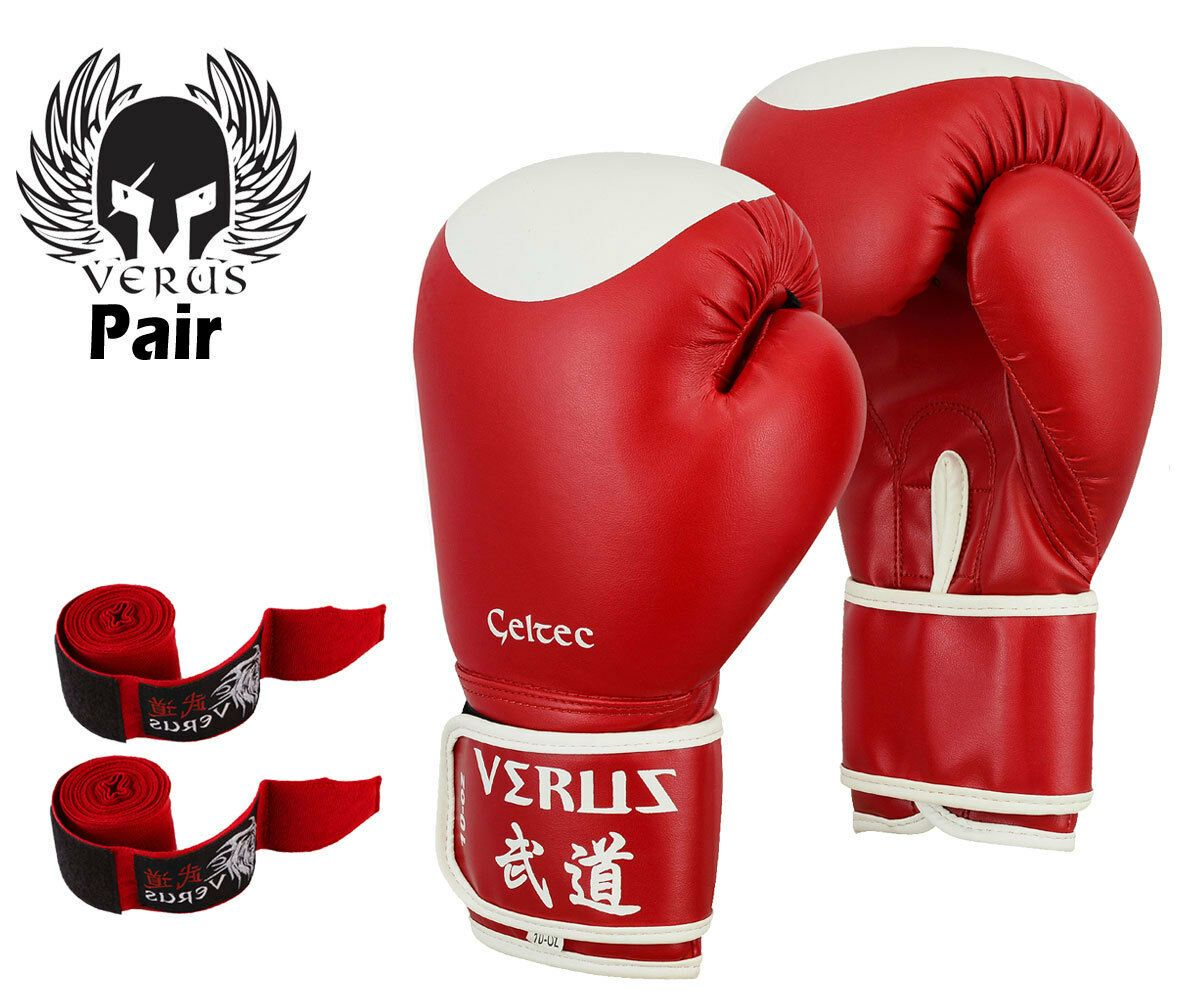 Red Boxing Gloves Art Leather Punch Training Sparring Kickboxing MMA Fighting