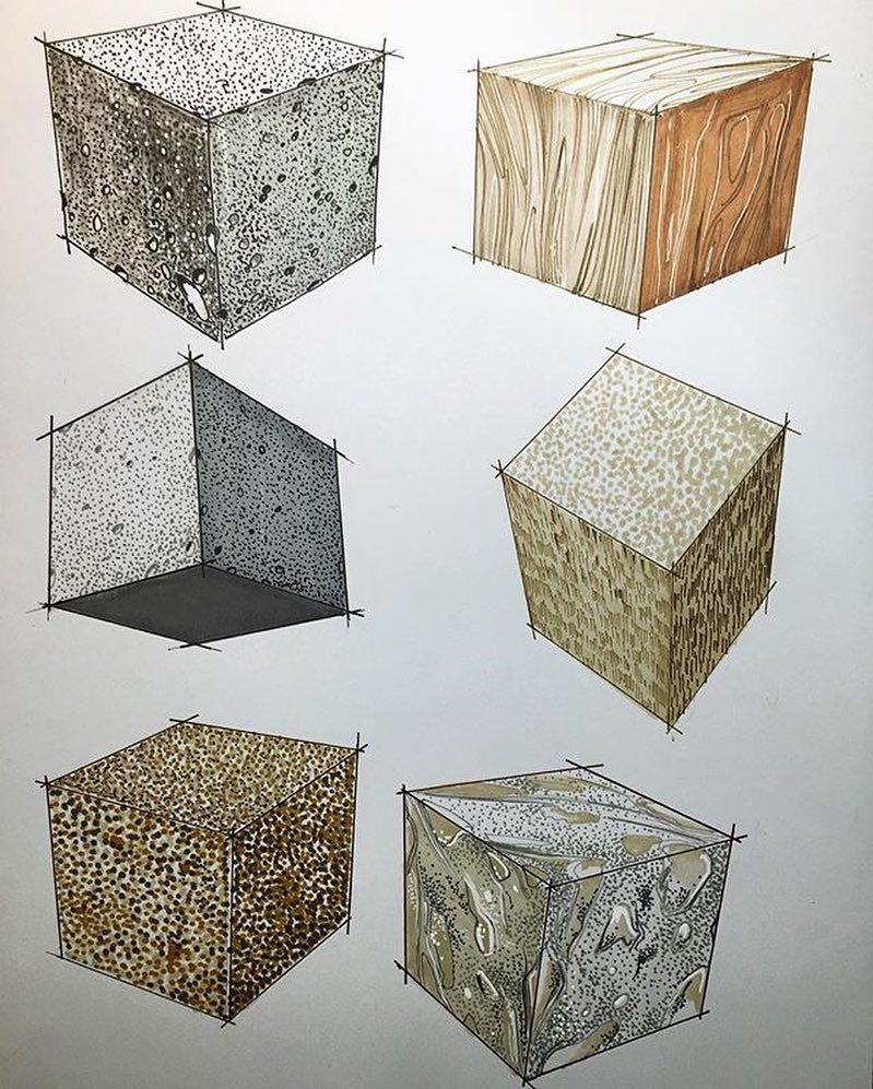 Materials rendered by markers by industrial designer ...