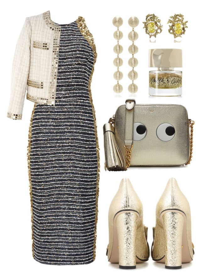 """""""Gold Lurex"""" by cherieaustin ❤ liked on Polyvore featuring Kalmanovich, Gucci, Anya Hindmarch, Moschino, Rebecca de Ravenel, Smith & Cult and Bernard Delettrez"""