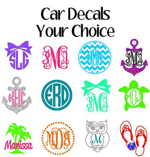 Monogram car decals window sticker by vinyldezignz on etsy 4 95