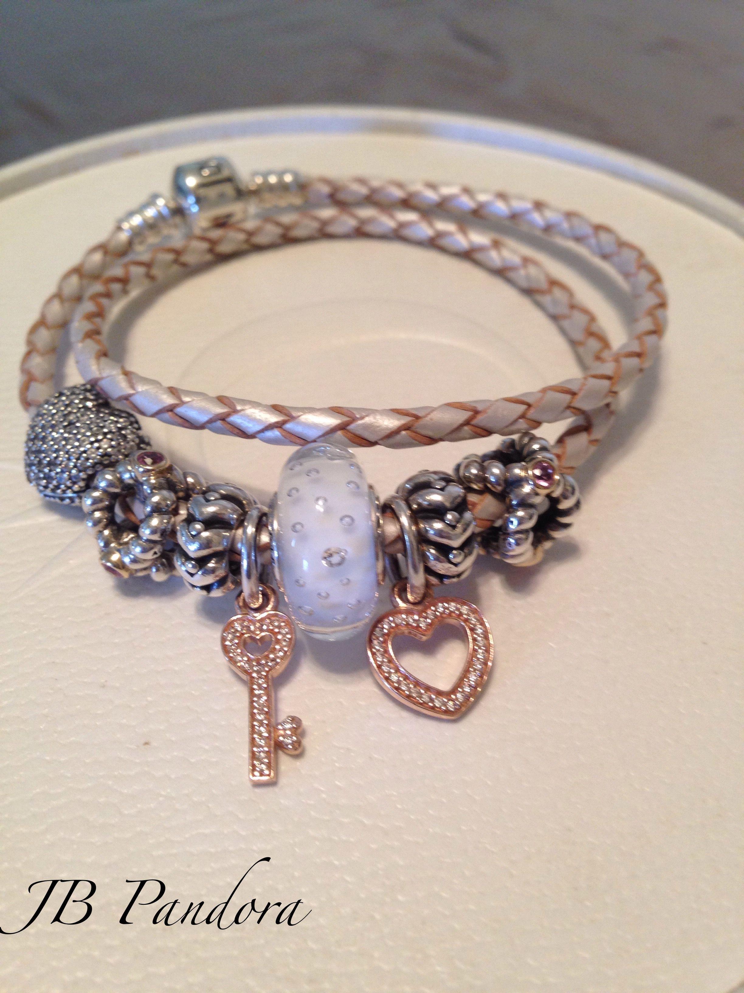 Pandora Champagne Leather Bracelet 14kt Rose Love And Trust Symbols White  Effervescent Murano