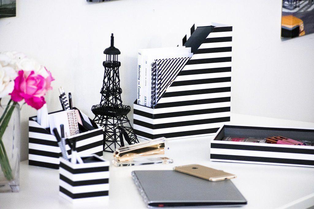 Blu Monaco Desk Black White Desk Accessories Organizer Set 4 Pcs Set Fun Stylish Horizontal Stri Desk Organizer Set Diy Desk Accessories Desk Organization