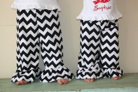 WANT IN RED Girls chevron ruffled pants by Gigi Babies by gigibabies on Etsy, $26.00