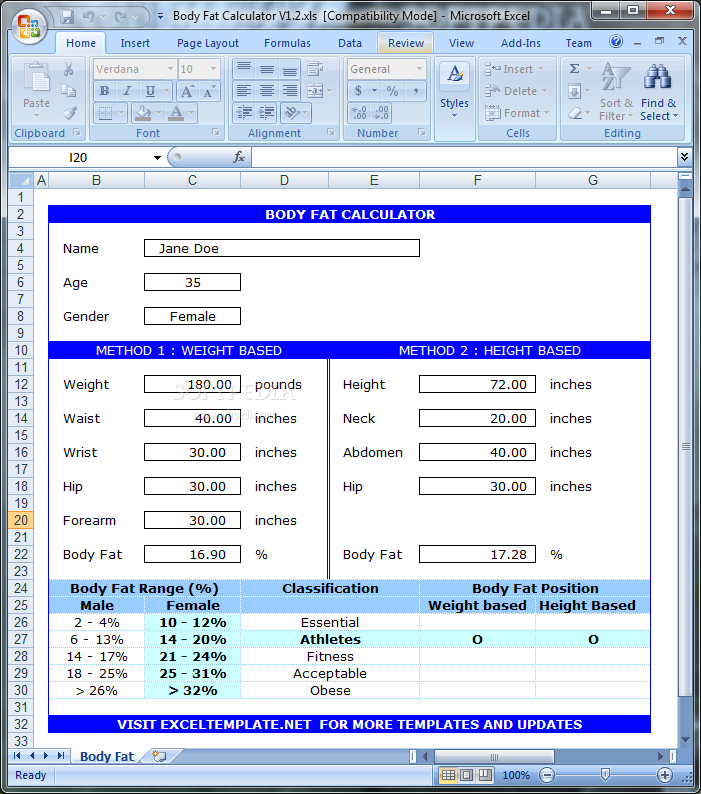 Sample Body Fat Percentage Chart Template 7 Free Documents In