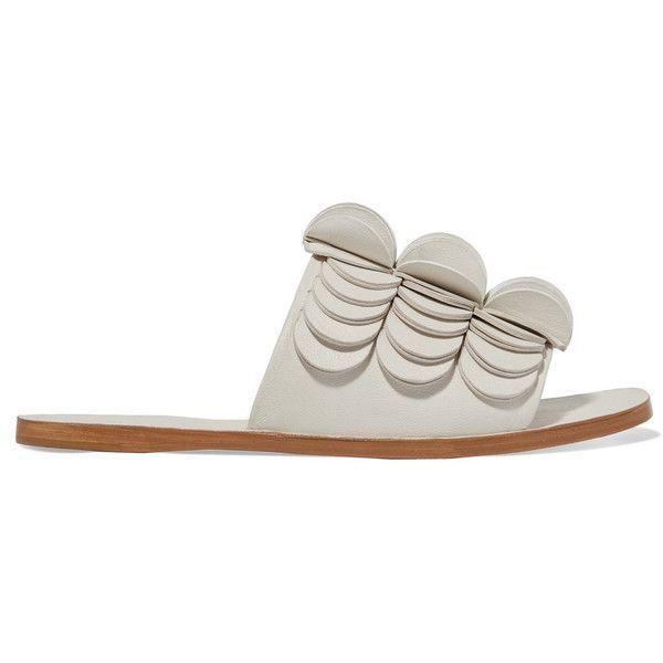 Mercedes Castillo Delphia appliquéd leather slides (€460) ❤ liked on Polyvore featuring shoes, white, genuine leather shoes, white slip on shoes, metallic shoes, real leather shoes and metallic leather shoes