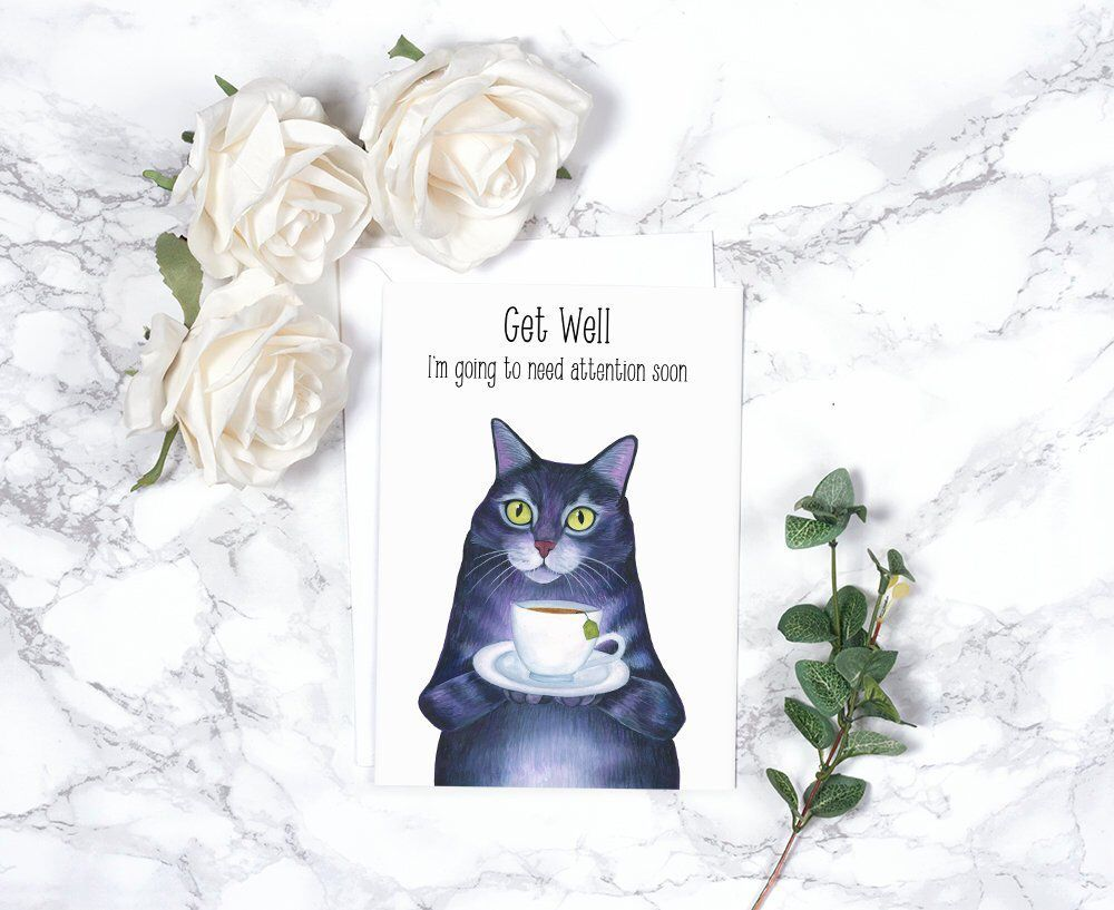 Cat lover gift funny sympathy card sorry card thinking of