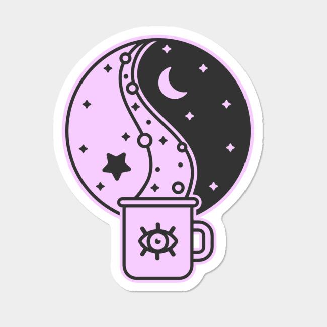 Coffee And Balance Sticker By Ghosttraveler Design By