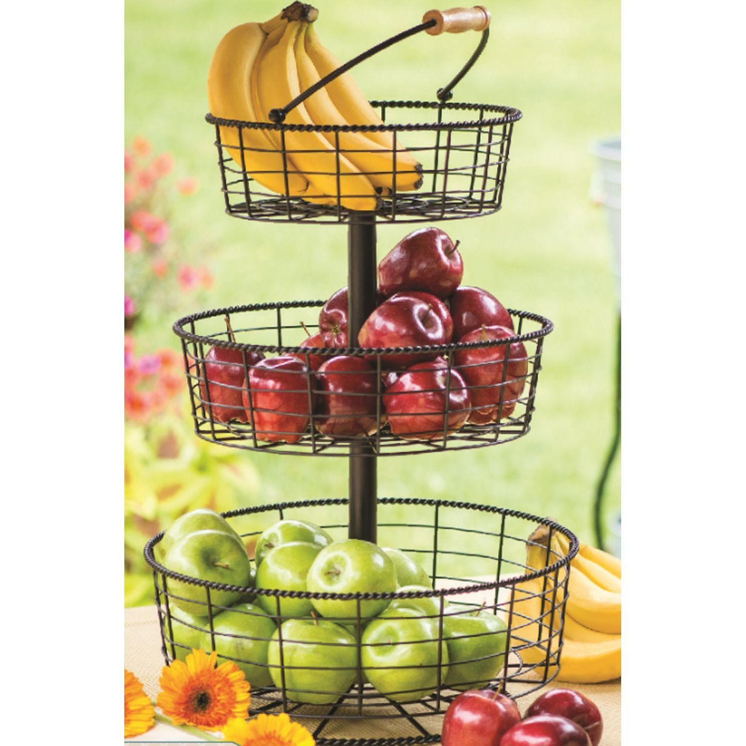 Giftbug Three Tier Wired Home Decor Fruit Holder Basket Server