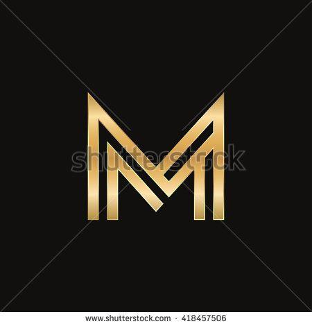 Elegance gold M Letter logo design template. Line vector symbol. Premium sign mark icon. initial logo for company, invitation, card - stock vector