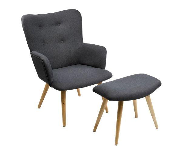 Set Van Een Sofa En Voetenbank Melissa Antraciet Naturel Meubel Ideeën Vintage Fauteuil Fauteuil