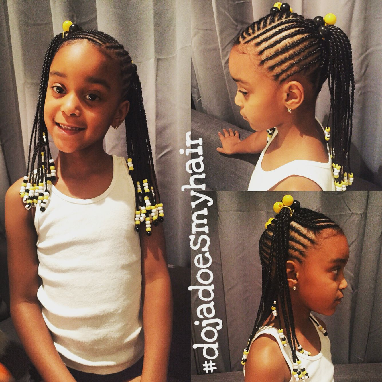 Kids Protective Braid Style For Long And Curly Hair Two Ponytails Braided To The Ends With Black And Ye Braids For Short Hair Cornrow Hairstyles Girls Braids