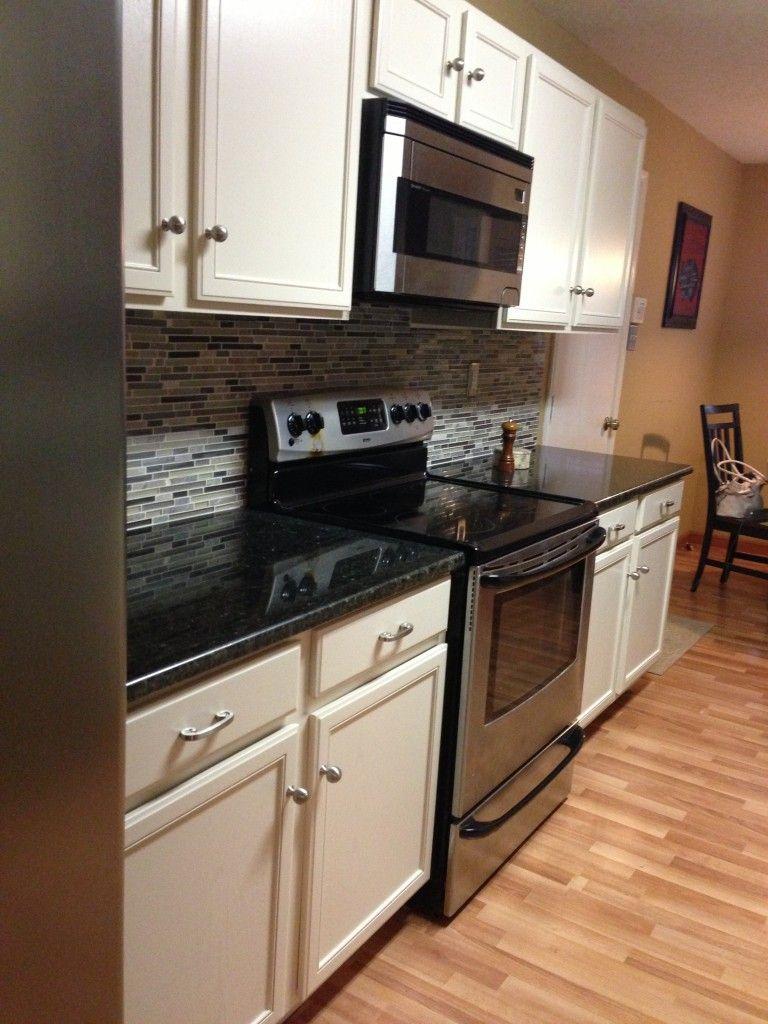 Pretty Black Color Uba Tuba Granite Countertops And White Color Wooden Kitchen Trendy Kitchen Backsplash Wooden Kitchen Cabinets Backsplash For White Cabinets