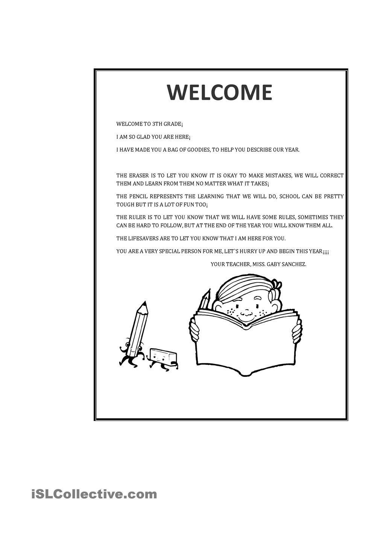 Welcome Letter Worksheet  Free Esl Printable Worksheets Made By