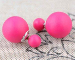 Pink Round 925 Sterling Silver Double Face Sided Shell Pearl Earring,Sell by Pair
