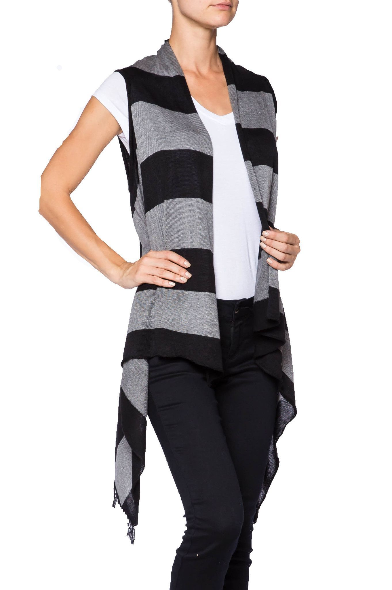 Cardigan Sweater Vest | Striped cardigan, Fashion fall and Grey ...