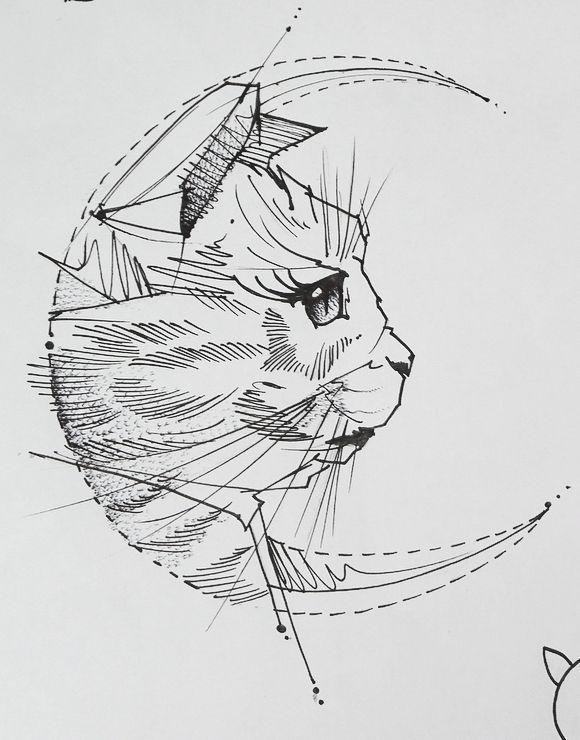 Geometric Tattoo – Скетч для тату с котом