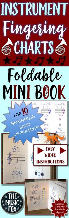 Instrument Fingering Charts Foldable Mini Book For 10 Instruments