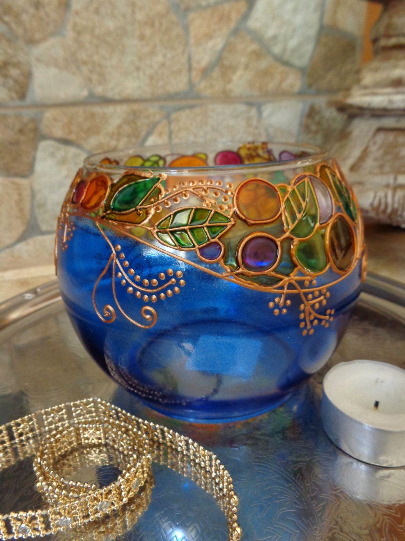 Glass candle holder tea light vase blue by