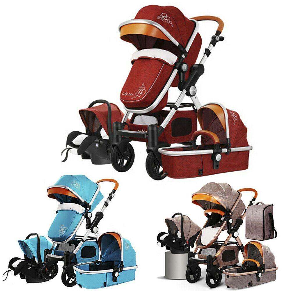 UPGRADE 3 in 1 Baby Stroller High Landscape Pram foldable