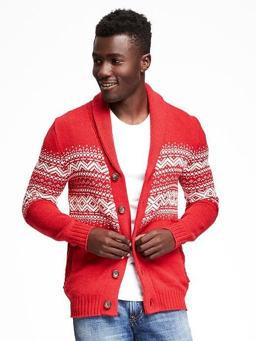 Red and whit Fair Isle Cardigan for Men was at Old Navy. | Shaw ...