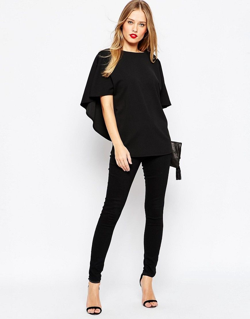 Image 4 ofASOS Crepe Open Back Top With Ruffle Detail
