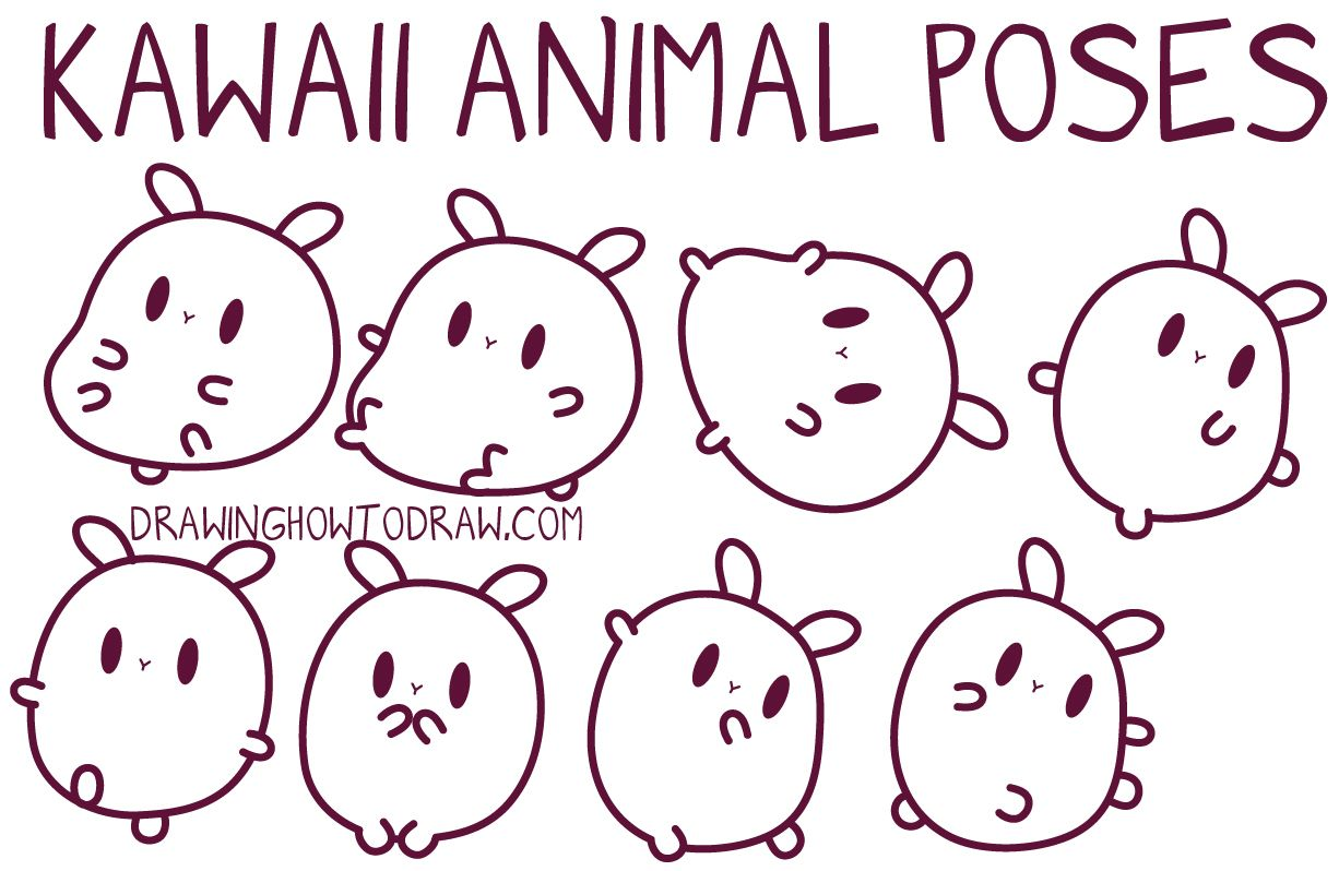 Easy Guide To Drawing Kawaii Characters Part 2 How To Draw Kawaii Animals Critters Expressions Faces Body Poses How To Draw Step By Step Drawing Tuto Kawaii