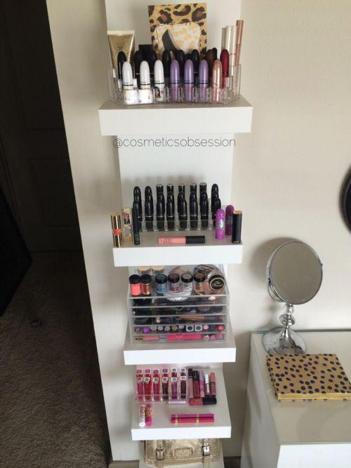 makeup storage shelves