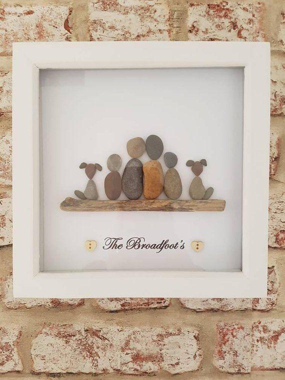 Handgemachte personalisierte Familie Kiesel Kunst Bild #kieselsteinebilder