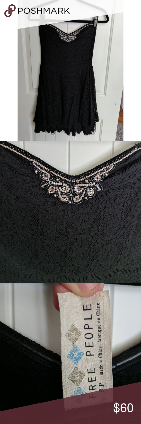 Free people black beaded lace formal dress beaded lace sweet
