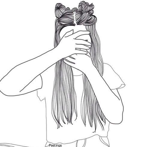 dessin noir et blanc outlines fille avec deux chignons fille qui se cache le visage avec ses. Black Bedroom Furniture Sets. Home Design Ideas