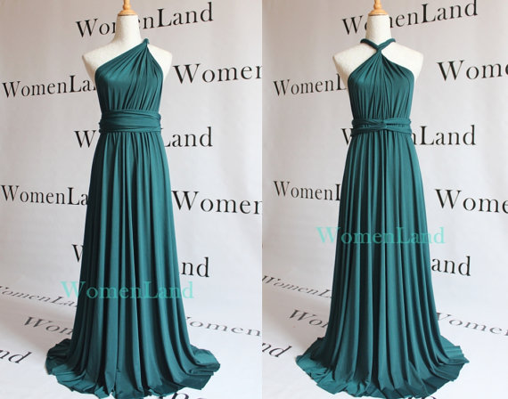 Womenland Dark Teal Green Full Length Elegant Infinity Multi Convert Dark Teal Bridesmaid Dresses Dark Purple Bridesmaid Dresses Evening Dresses For Weddings