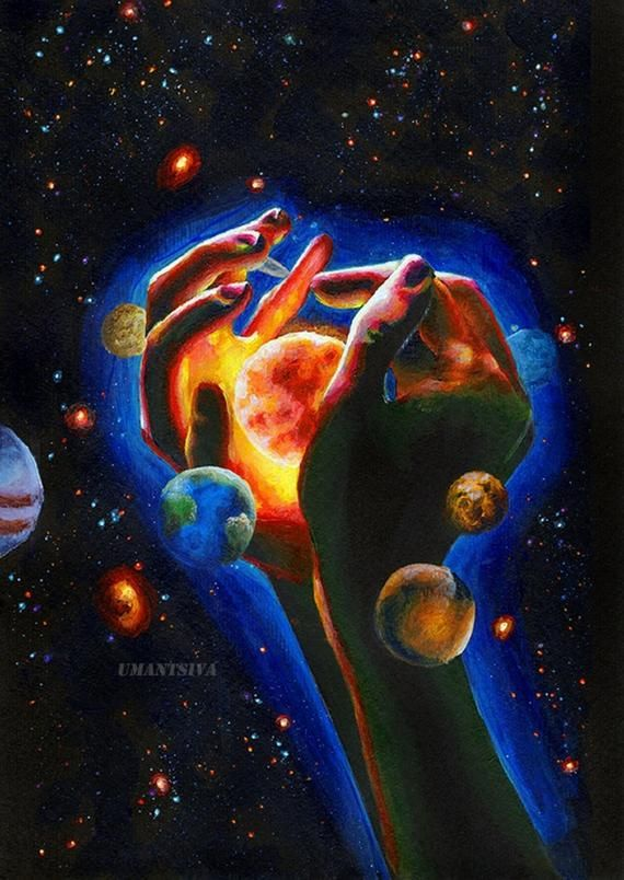 Psychedelic acrylic painting cosmic triptych art