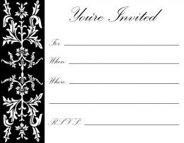 Free printable birthday party invitations for adults and kids black formal floral filigree on white background great for holiday parties stopboris Image collections