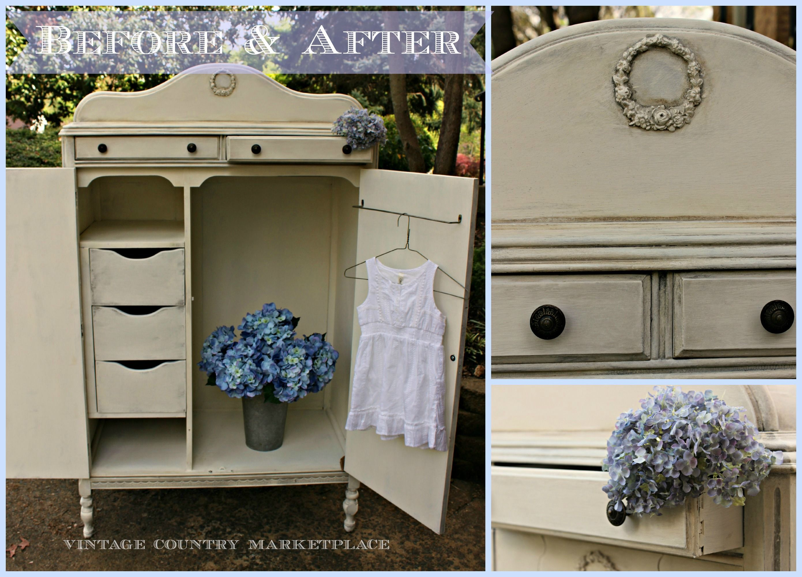 Diy Furniture Annie Sloan Chalk Paint Wardrobe Chifferobe Using French Linen Old White Cocoa Wash