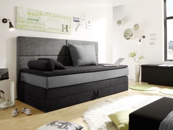 patron boxspringbett 90x200 cm schwarz grau detail image schlafzimmer bett bett 90x200 und. Black Bedroom Furniture Sets. Home Design Ideas