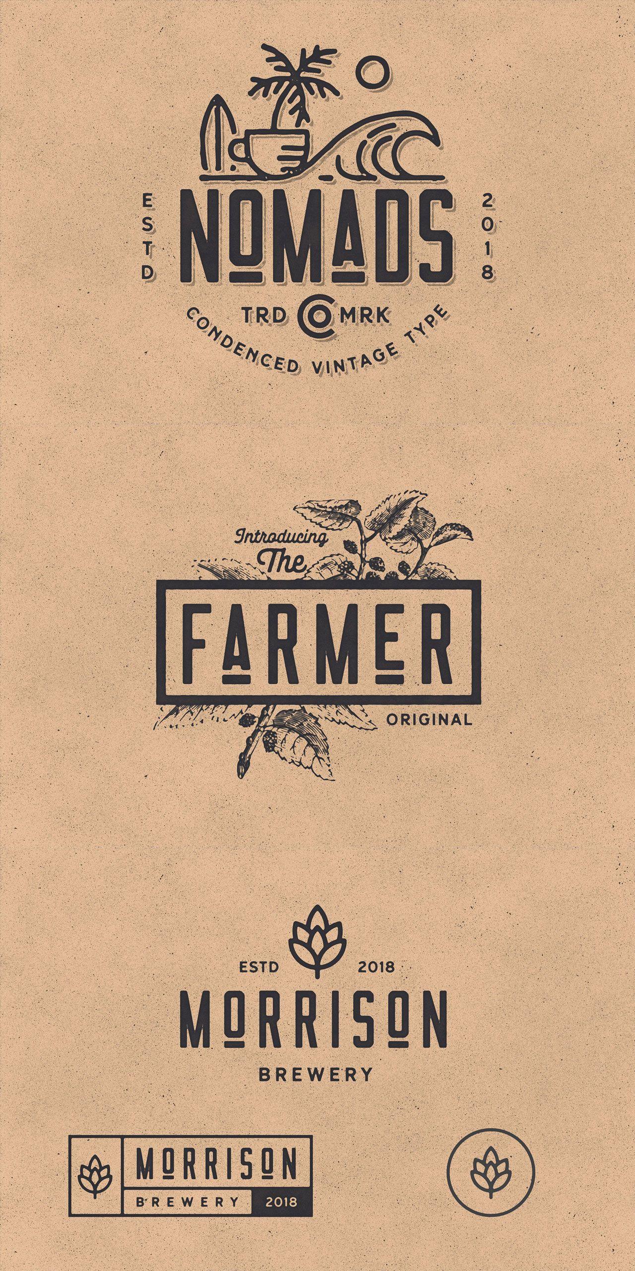 Nomads The Farmer Original Typeface Cafe Logo Design Vintage Logo Design Branding Design Logo