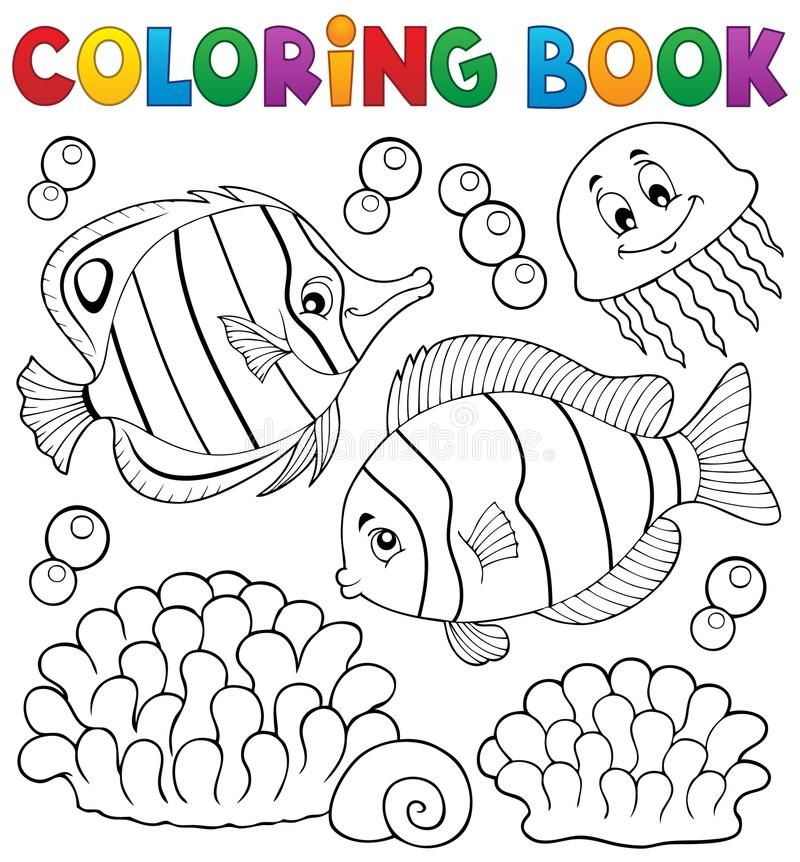 Coloring Book Coral Fish Theme 2 Eps10 Vector Illustration Sponsored Ad Sponsored Coral Coloring In 2020 Coloring Books Vector Illustration Fishing Theme