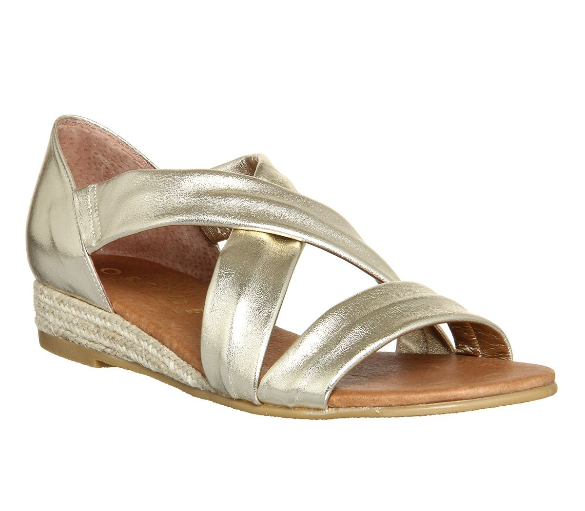 Office Womens Sandals Gold Leather