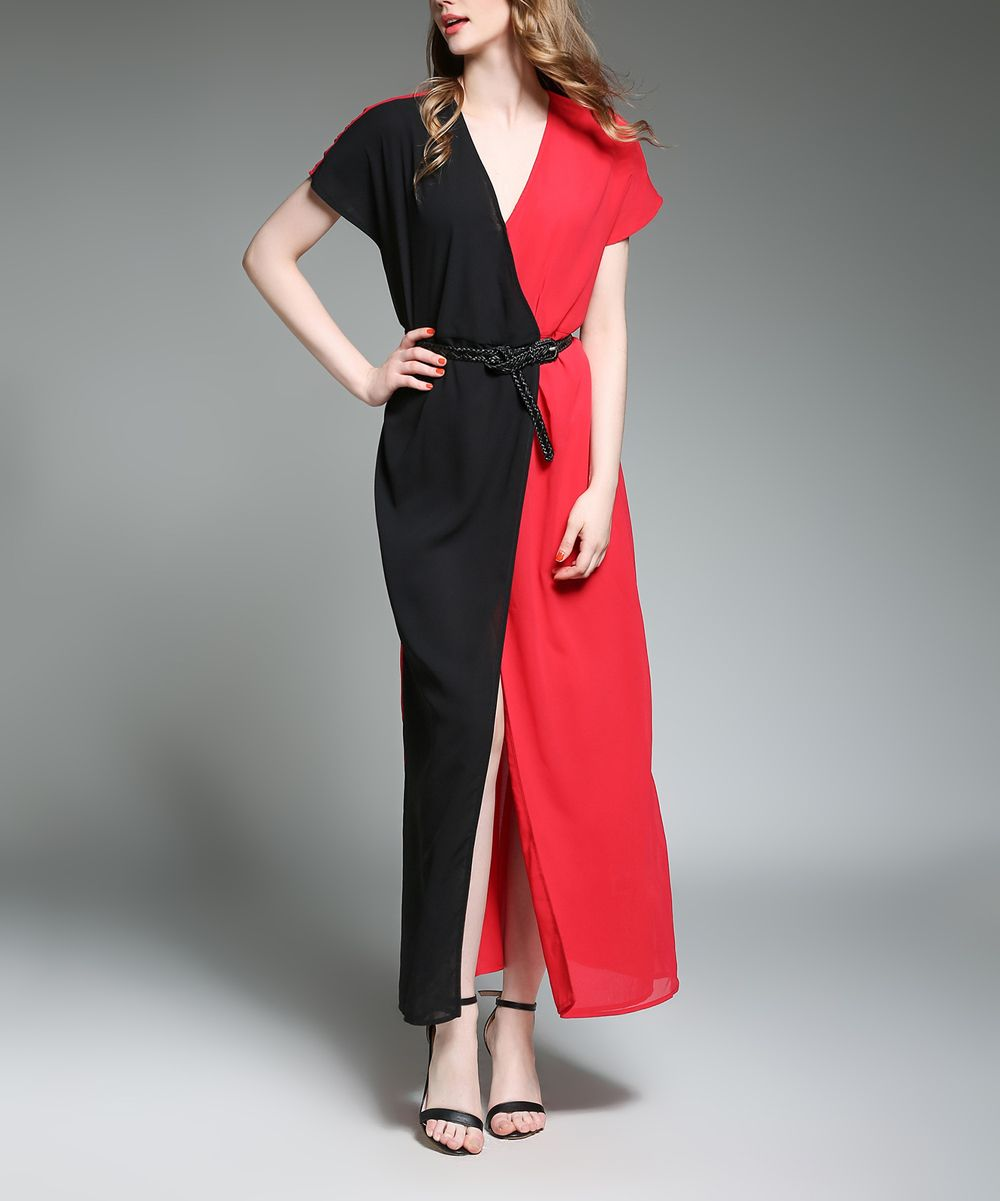 Red u black color block belted maxi dress products pinterest