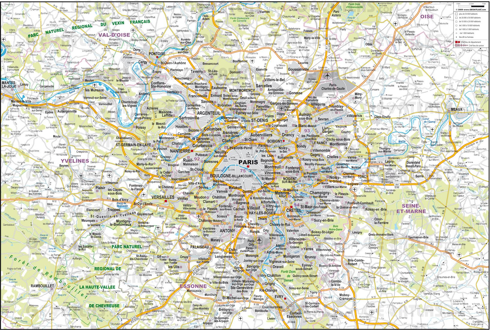 Detailed Map Of Paris France Map Of The Environs Of Paris City - Large map of paris france