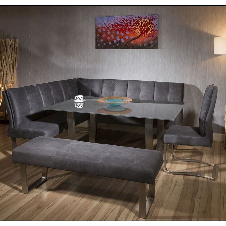 Luxury 8 Seater Grey Suede Corner L Bench Chair Glass Top Dining