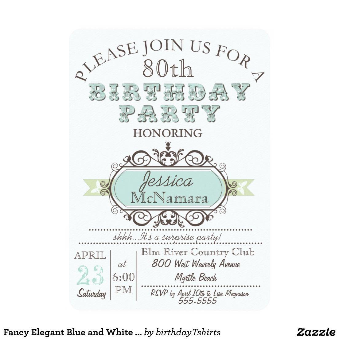 Fancy Elegant Blue and White Birthday Invitation | Decor | Pinterest