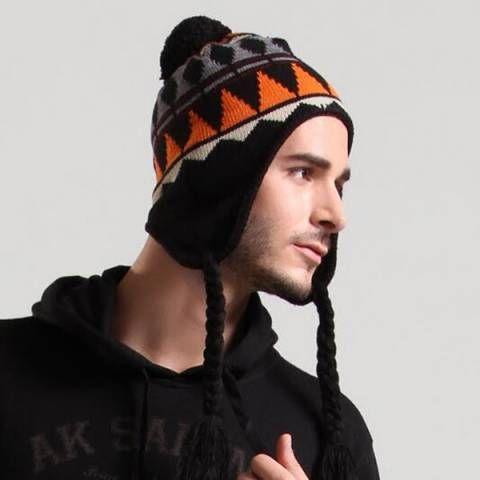 fc5875faf5f Geometric knit hat with ear flaps for men outdoor fleece winter hats ...