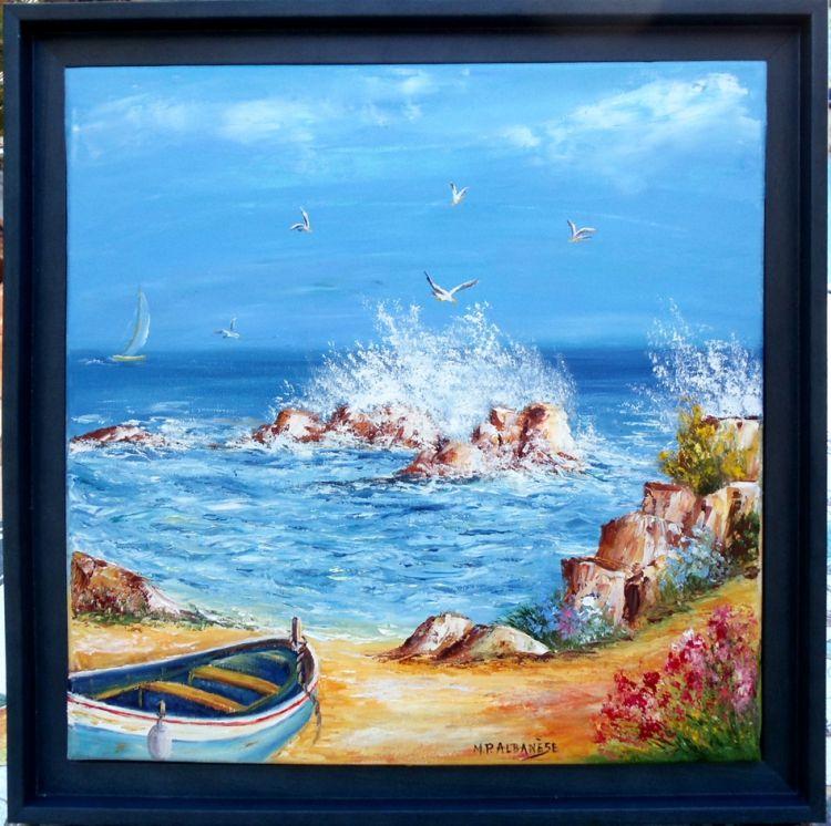 Tableau Peinture Art Tableaux De Provence Bord De Mer Marine Barque Peche Roche Peintres De Provence Marine Peinture A Tableau Peinture Les Arts Tableau Art